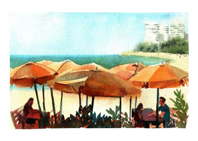 Akwareli ilustracyjna kawiarnia na dennej plaży z słońce parasoli kolorowym odosobnionym przedmiotem na białym tle dla reklamy royalty ilustracja