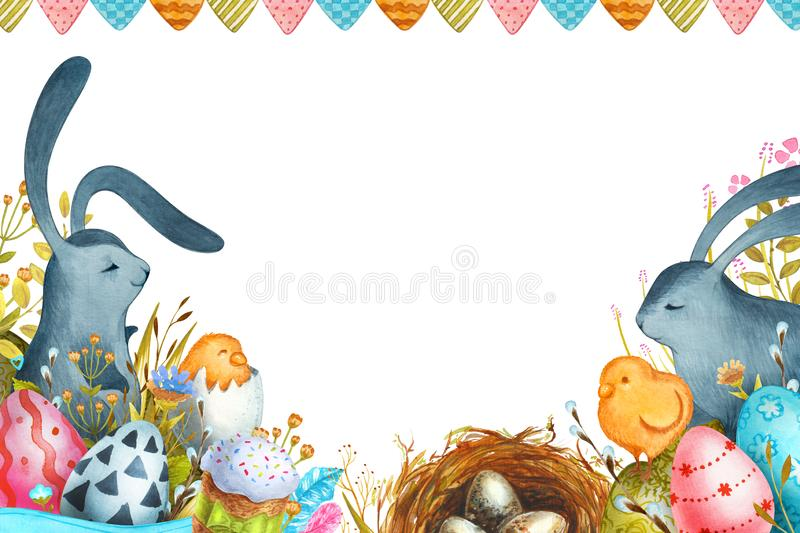 Akwareli ilustracyjna Szcz??liwa wielkanoc Wielkanocni kr?liki i Wielkanocni jajka zdjęcia royalty free