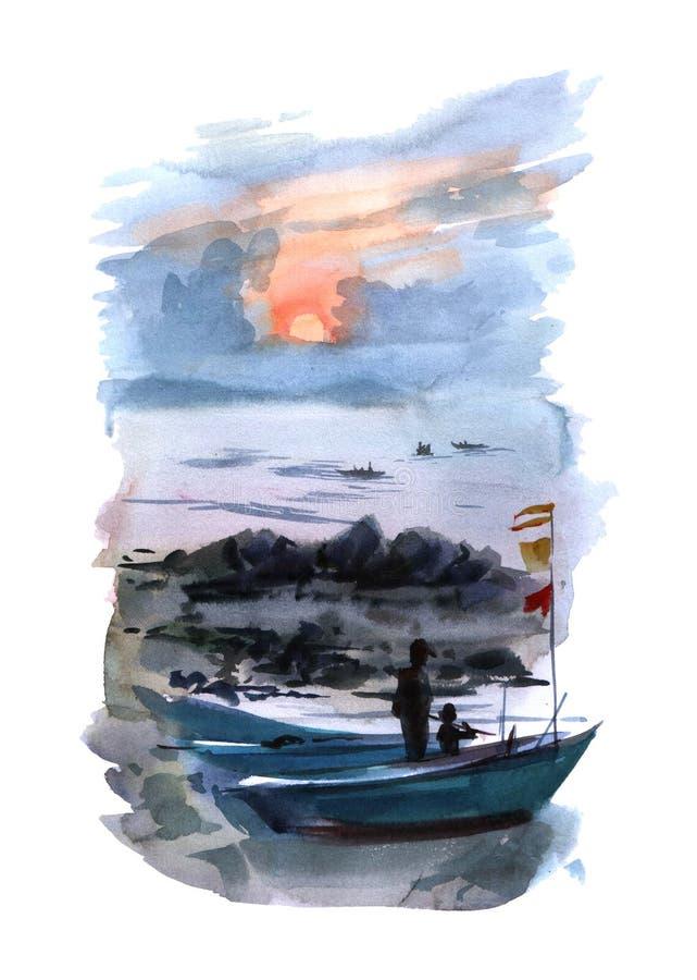 Akwareli ilustracyjne łodzie na morzu przy zmierzchu kolorowym odosobnionym przedmiotem na białym tle dla reklamy ilustracji