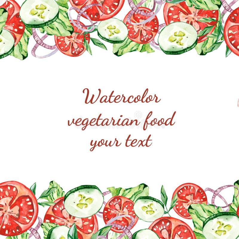 Akwareli jarski jedzenie twój tekst royalty ilustracja