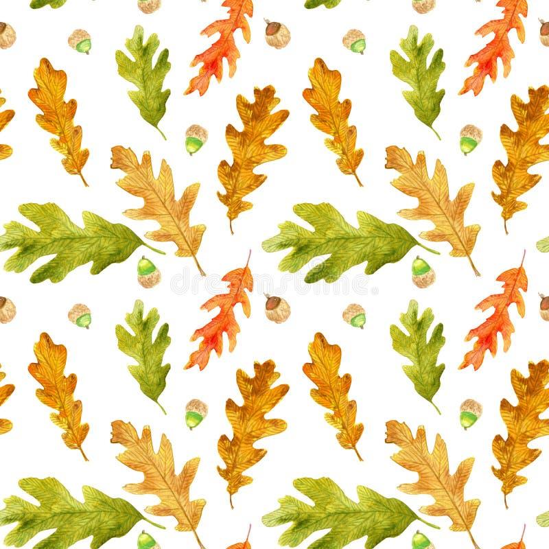 Akwareli jesieni dąb opuszcza bezszwowego wzór royalty ilustracja