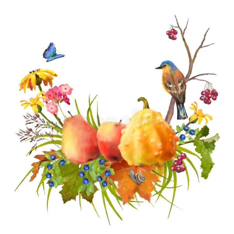 Akwareli jesieni dziękczynienia skład royalty ilustracja