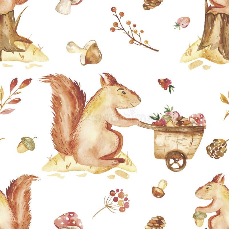Akwareli jesieni dzieci ustawiają, karta z śliczną wiewiórką, dokrętki, tramwaj ilustracji