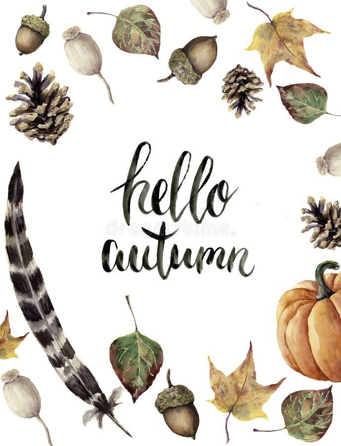 Akwareli jesieni granica z jesieni literowaniem cześć Wręcza malujących sosny rożka, acorn, jagody, koloru żółtego i zieleni spad ilustracja wektor