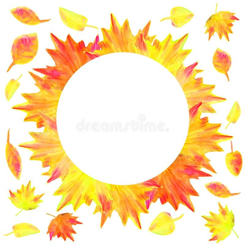 Akwareli jesieni kolor żółty opuszcza wokoło ramy Wręcza patroszonego z szczotkarską jaskrawą klonu i abstrakta liścia ilustracją ilustracja wektor