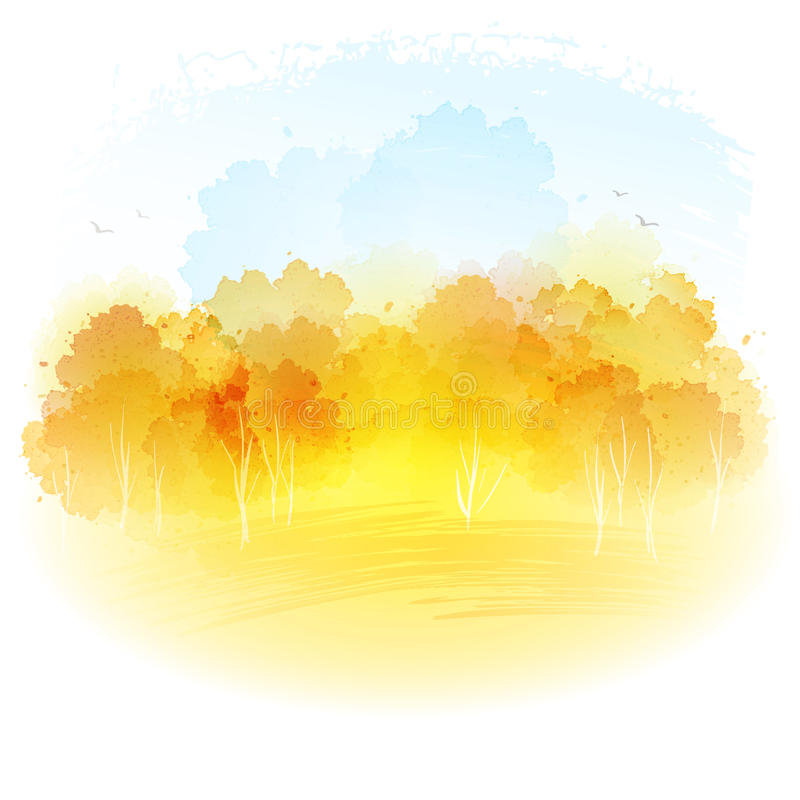 Akwareli jesieni krajobraz również zwrócić corel ilustracji wektora royalty ilustracja
