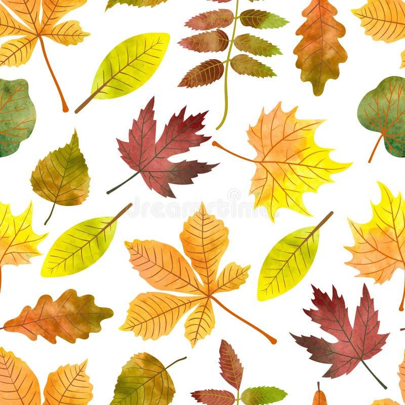 Akwareli jesieni liści bezszwowy wzór royalty ilustracja