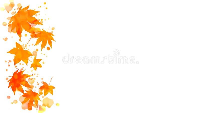 Akwareli jesieni liści klonowych granica ilustracja wektor