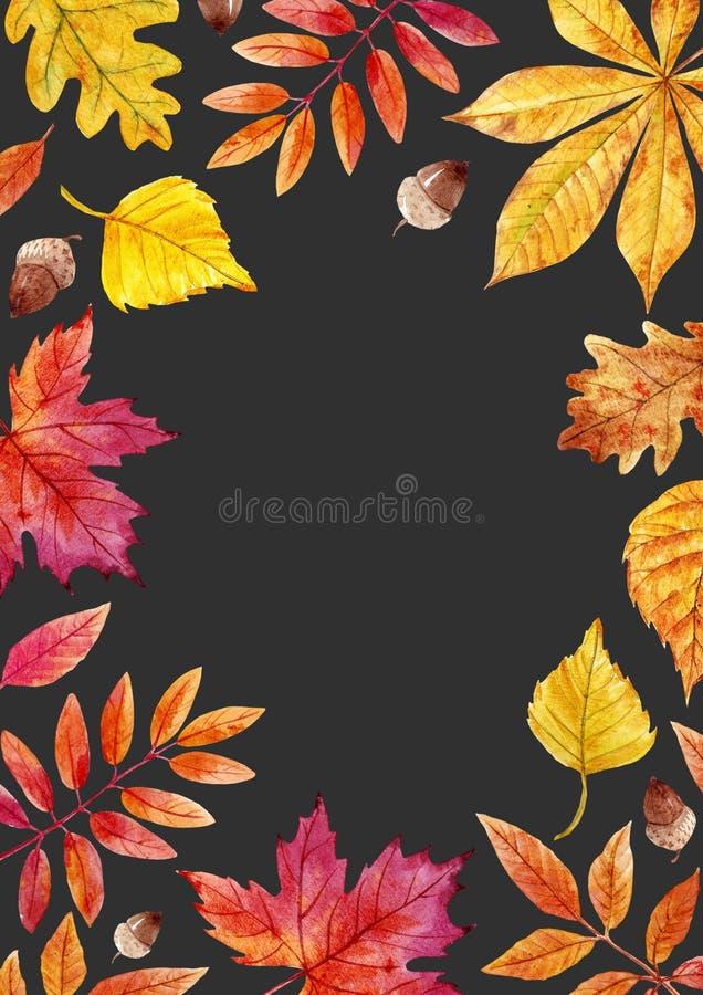 Akwareli jesieni liści rama ilustracja wektor
