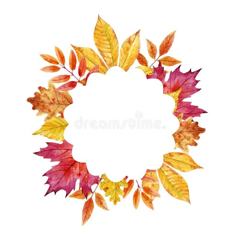 Akwareli jesieni liści wektoru rama ilustracja wektor