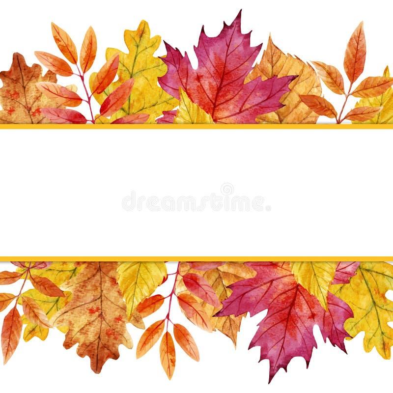 Akwareli jesieni liści wektoru rama ilustracji