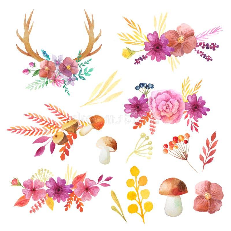 Akwareli jesieni liście, gałąź, rogi, pieczarka i rośliny ustawiający, royalty ilustracja