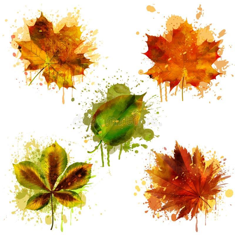 Akwareli jesieni liście wektor ilustracji