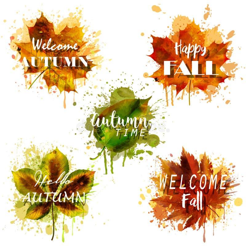 Akwareli jesieni liście z tekstem wektor royalty ilustracja