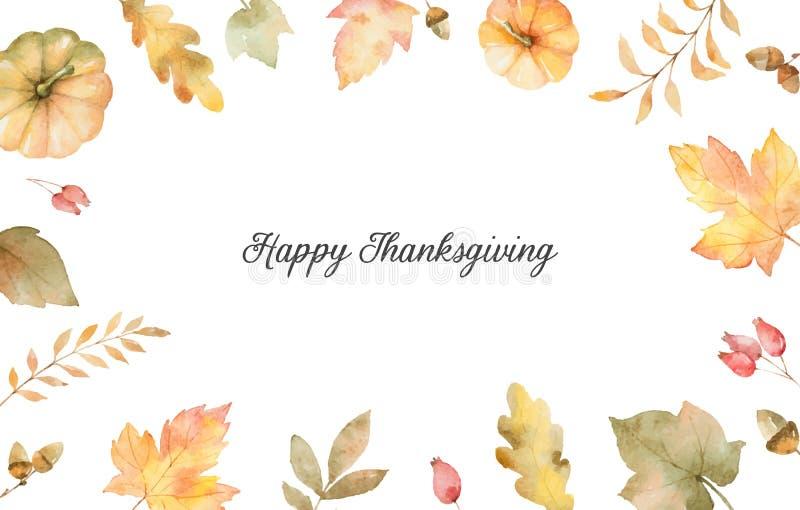 Akwareli jesieni ręki obrazu wektorowa karta z liśćmi i gałąź odizolowywającymi na białym tle ilustracji