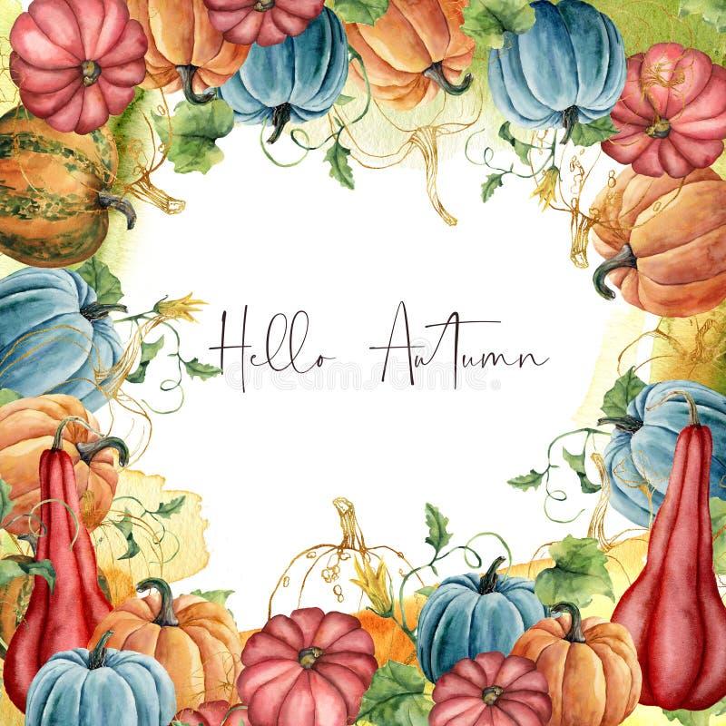 Akwareli jesieni rama z złotym gurda składem Cześć Ręka malował kartę z baniami i liśćmi odizolowywającymi dalej ilustracji