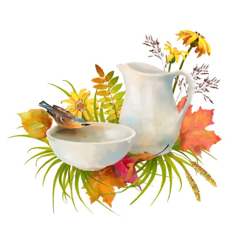 Akwareli jesieni skład obrazy stock