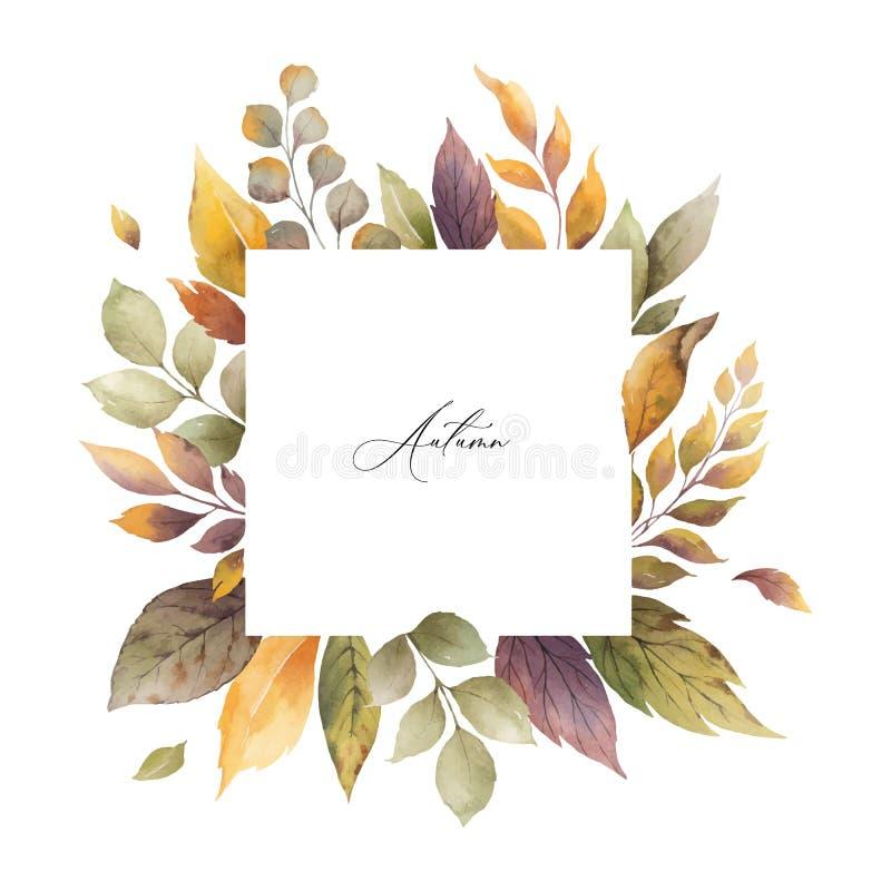 Akwareli jesieni wektorowa rama z różami i liśćmi odizolowywającymi na białym tle ilustracja wektor