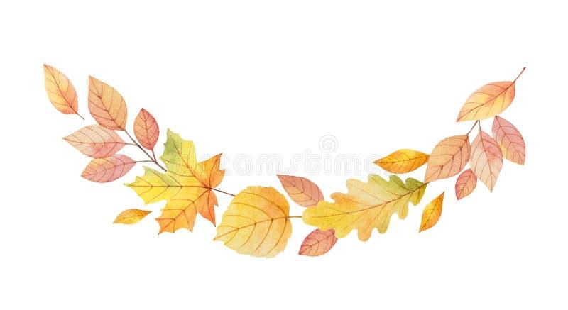 Akwareli jesieni wektorowy wianek z liśćmi i gałąź odizolowywającymi na białym tle ilustracja wektor