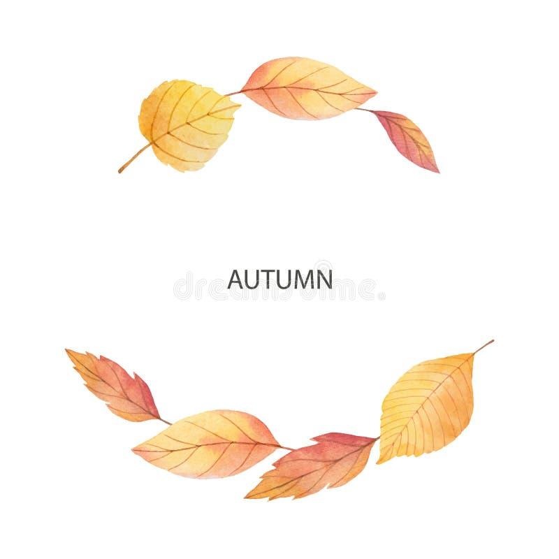 Akwareli jesieni wektorowy wianek z liśćmi i gałąź odizolowywającymi na białym tle ilustracji