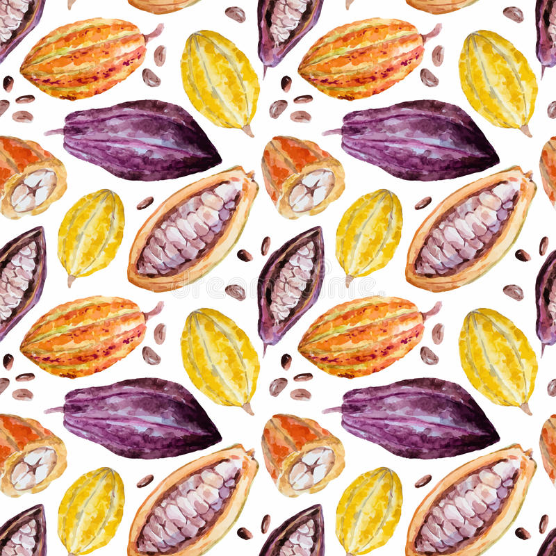Akwareli kakao wzór ilustracja wektor