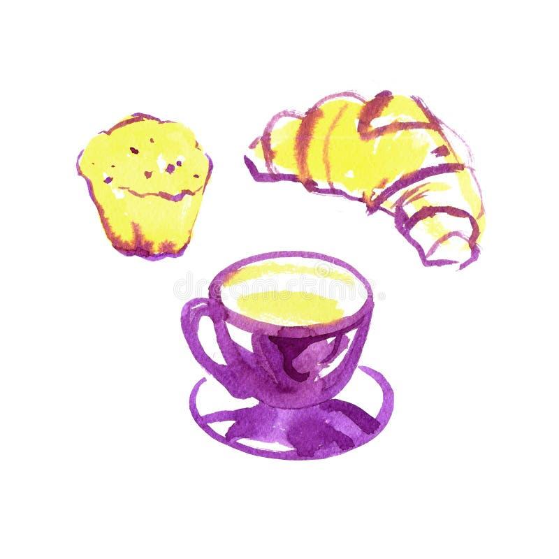 Akwareli karmowa ilustracja, mody nakreślenie, raster rysunek Piekarni świeży croissant Filiżanki kawy capuccino kawa espresso royalty ilustracja