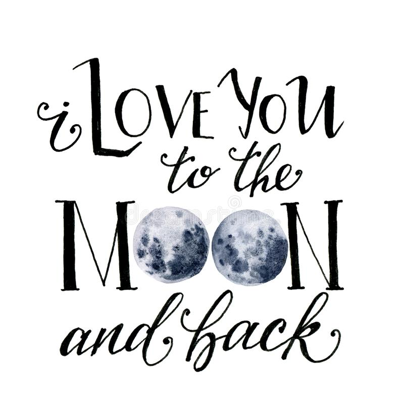 Akwareli karta z księżyc Ręka rysująca kocham ciebie księżyc i popieram kartę z literowaniem i błękitną księżyc odizolowywającymi ilustracji