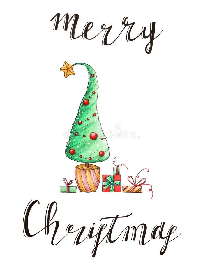 Akwareli karta z nowego roku drzewem, prezentami i ilustracja wektor