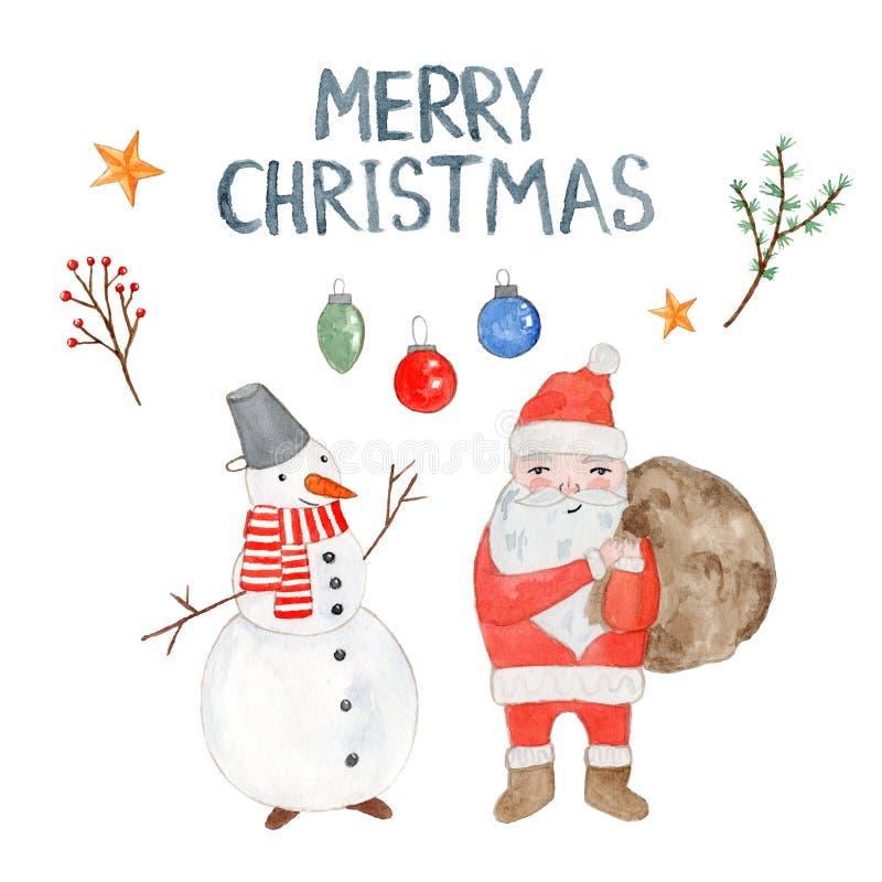 Akwareli kartka bożonarodzeniowa z Santa i bałwanem ilustracji