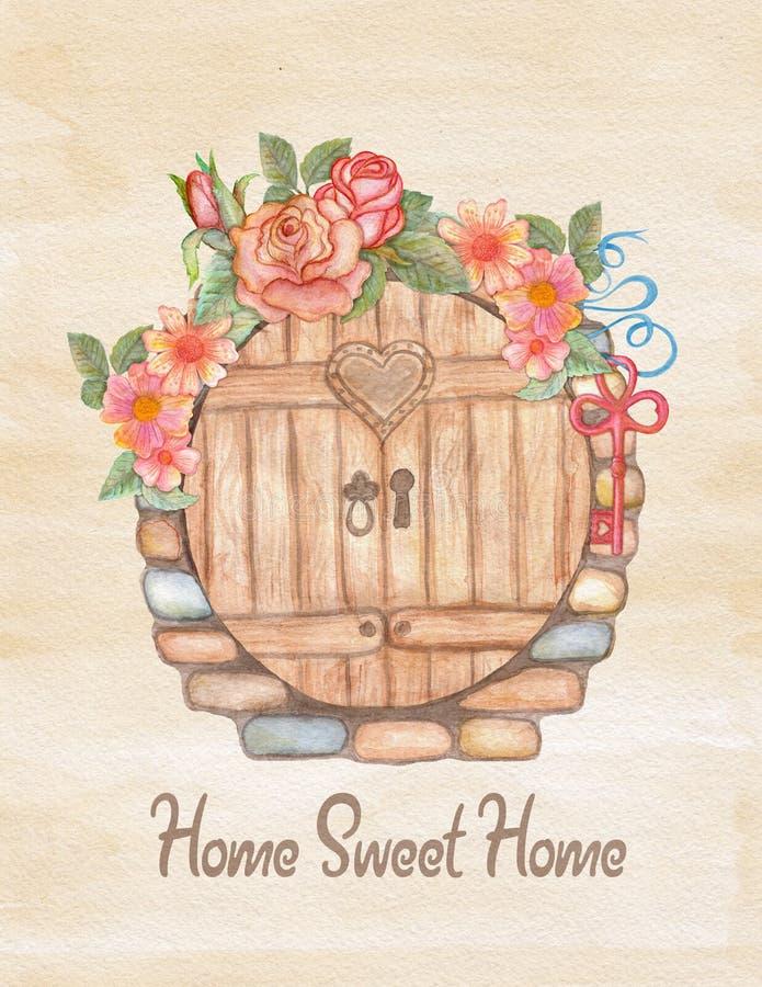 Akwareli kartka z pozdrowieniami, domowy nagrzanie lub ślub, royalty ilustracja