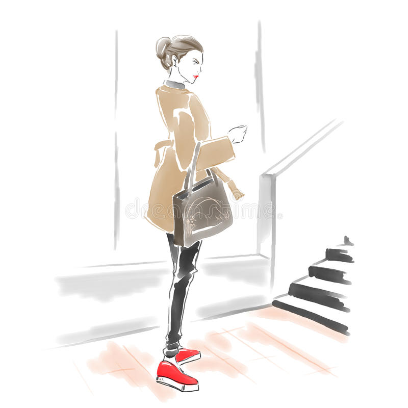 Akwareli kobieta z torebką, mody ilustracja royalty ilustracja