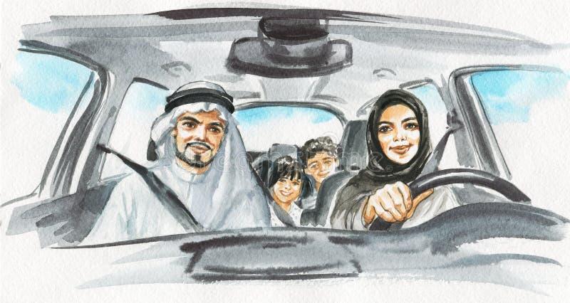 Akwareli kobiety arabska przejażdżka samochód kamery 3 kanapy dziewczyn na pomarańczowy rodzinę matki portret posiedzenie ich tam ilustracji