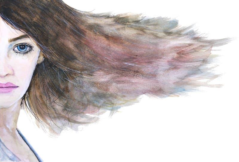 Akwareli kobiety twarzy włosy huśtawka na białym tle ilustracji