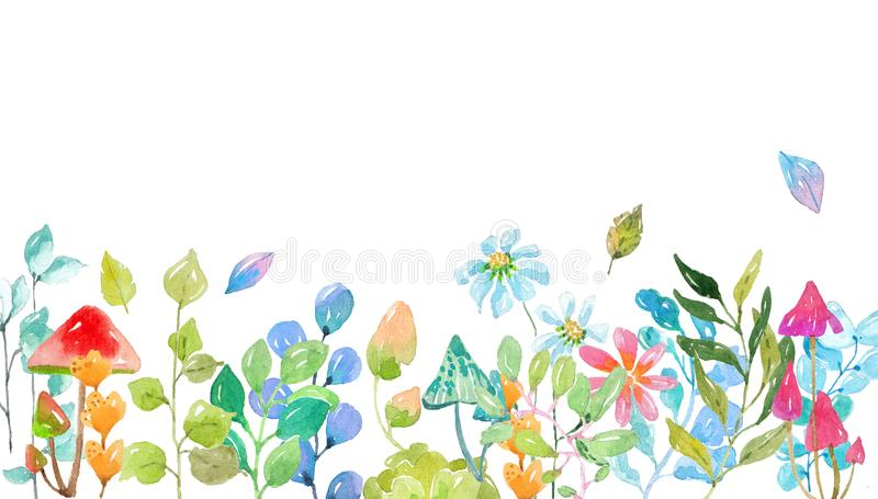 Akwareli kolekcja kolor kwitnie, liście, pieczarki royalty ilustracja