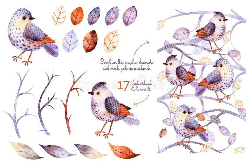 Akwareli kolekcja z ptakami royalty ilustracja