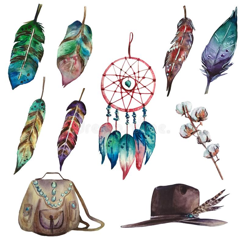 Akwareli kolorowy boho ustawiający wymarzony łapacz, piórka, bawełny gałąź, torba i kapelusz, ilustracji
