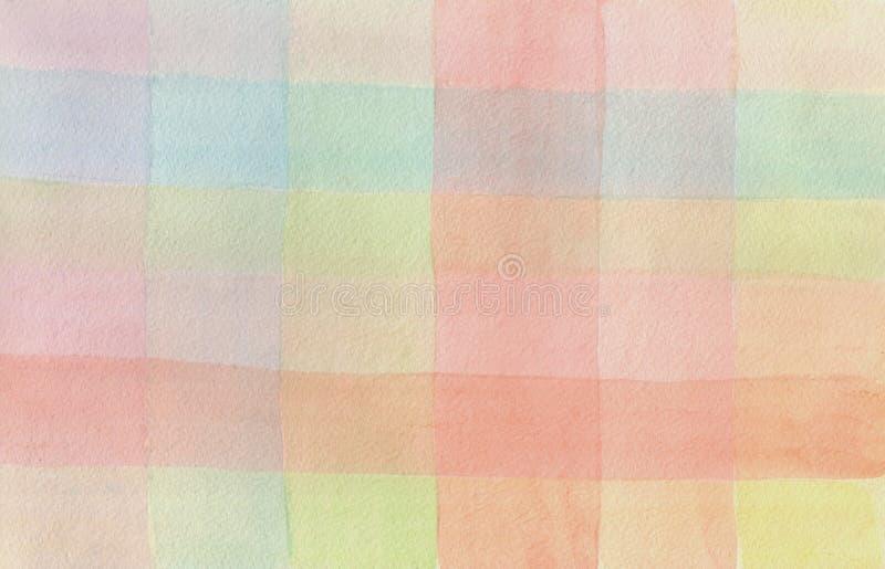 Akwareli kolorowy w kratkę tło royalty ilustracja