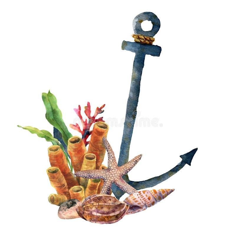 Akwareli kotwica z rozgwiazdą i koralem Ręka malująca podwodna ilustracja z laminaria gałąź, rafa koralowa i ilustracja wektor
