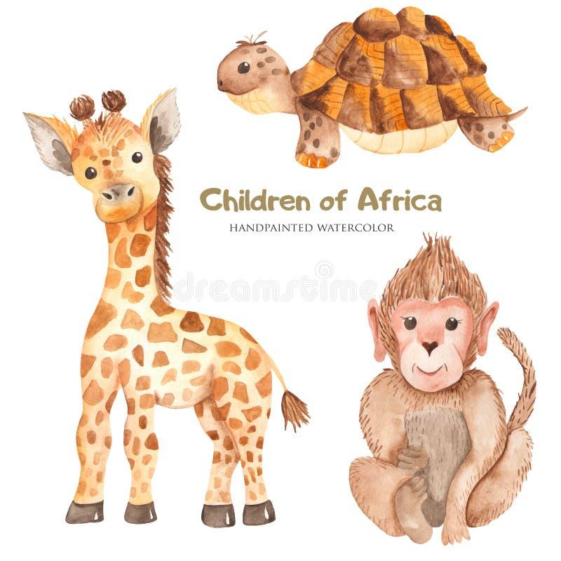 Akwareli kreskówki afrykanina śliczni zwierzęta royalty ilustracja