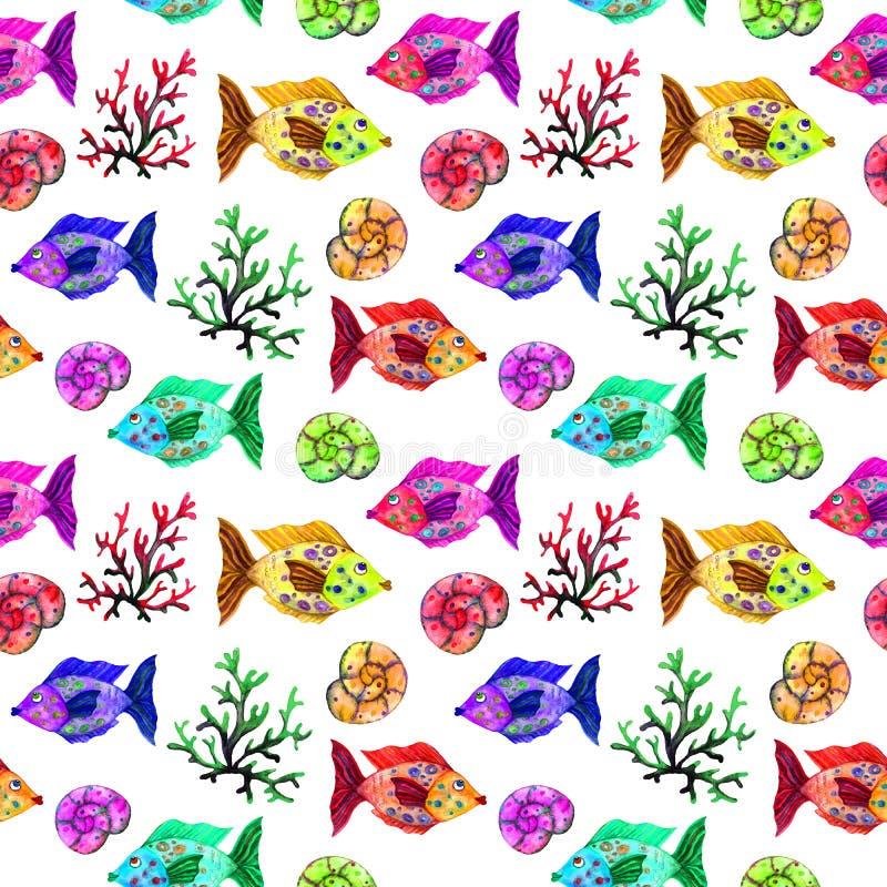 Akwareli kreskówki bezszwowy deseniowy morski życie: ryba, bąble, korale i skorupy, obraz royalty free