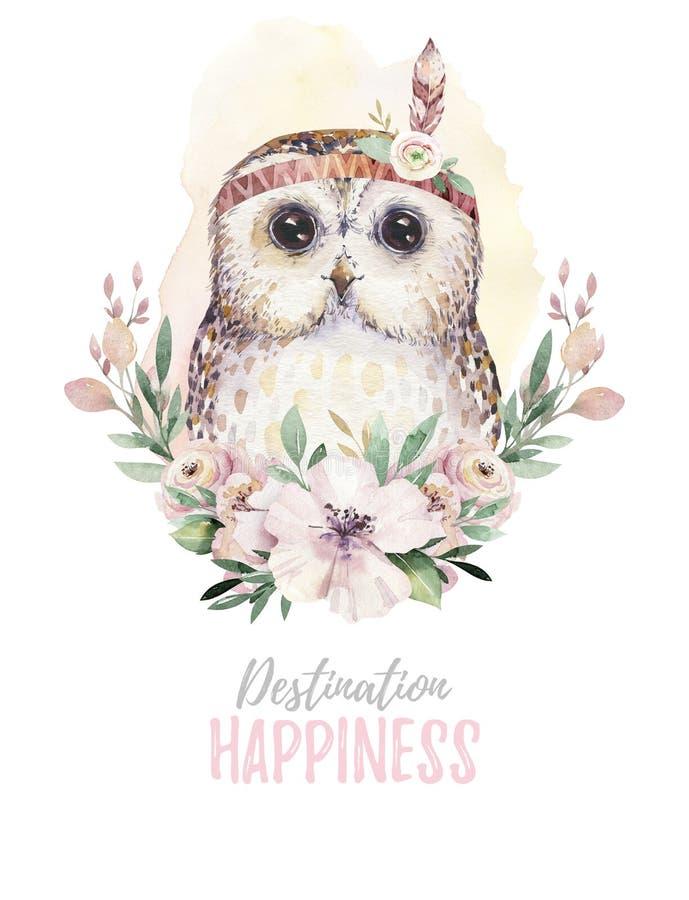 Akwareli kreskówka odizolowywał ślicznego dziecko sowy zwierzęcia z kwiatami Lasowa pepiniera lasu ilustracja Artystyczny boho royalty ilustracja