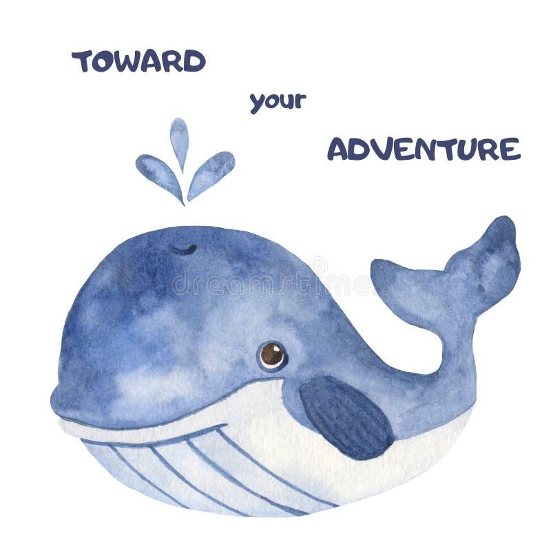 Akwareli kreskówki śliczna pocztówka z wielorybem royalty ilustracja