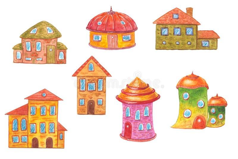 Akwareli kreskówki śliczny dom royalty ilustracja