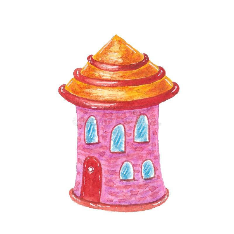 Akwareli kreskówki śliczny dom ilustracja wektor