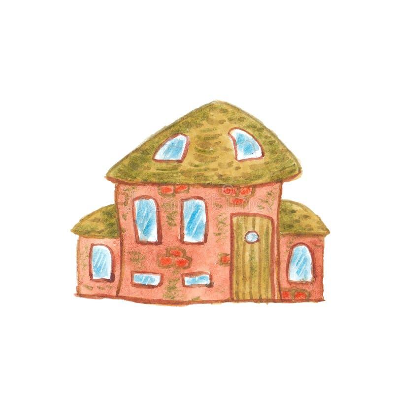 Akwareli kreskówki śliczny dom ilustracji