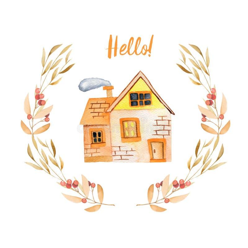 Akwareli kreskówki domu intymnego inside kwiecisty wianek w jesień cieniach royalty ilustracja