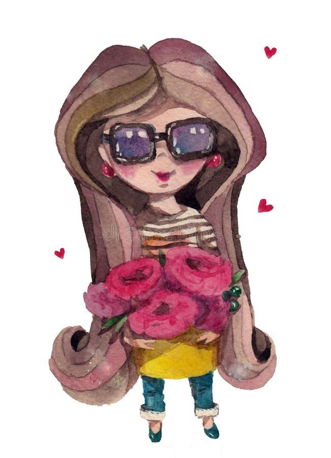 Akwareli kreskówki kwiaciarni śliczna dziewczyna z bukietem kwiaty royalty ilustracja