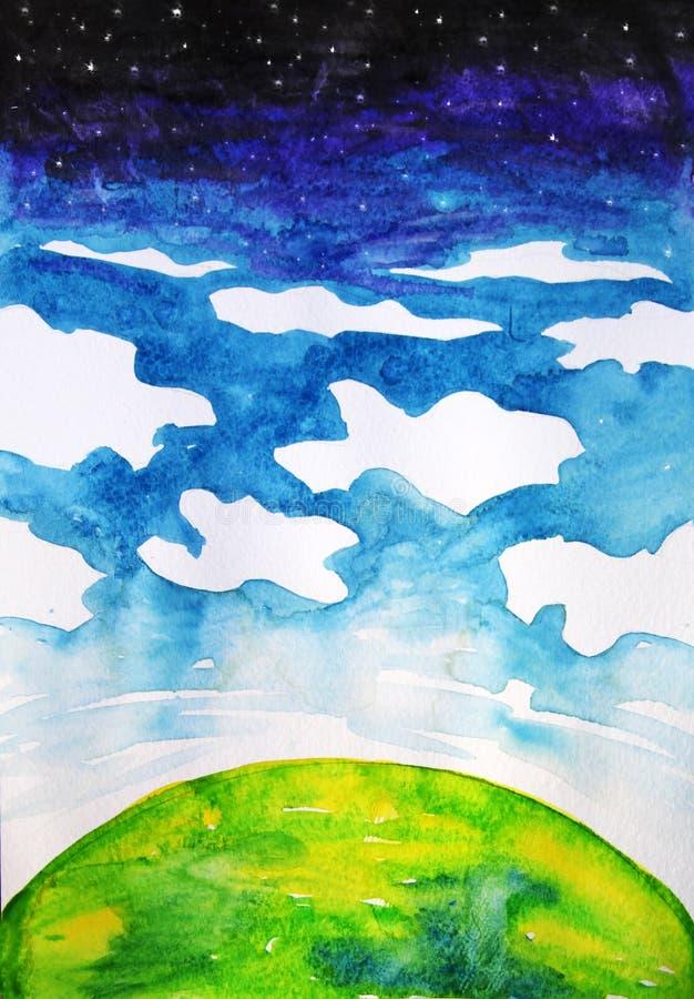 Akwareli kreskówki rysunek planeta, chmury i przestrzeń, ilustracji