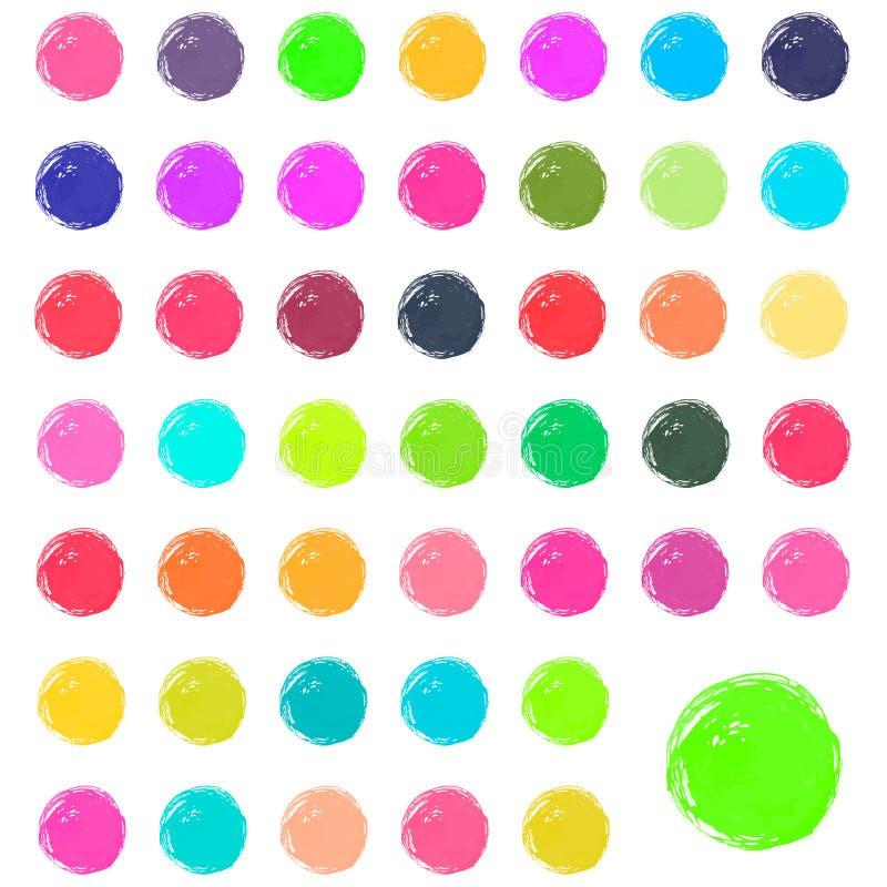 Akwareli krople, plamy, bryzgają Set kolorowa ręka malujący akwarela okręgi odizolowywający na bielu royalty ilustracja