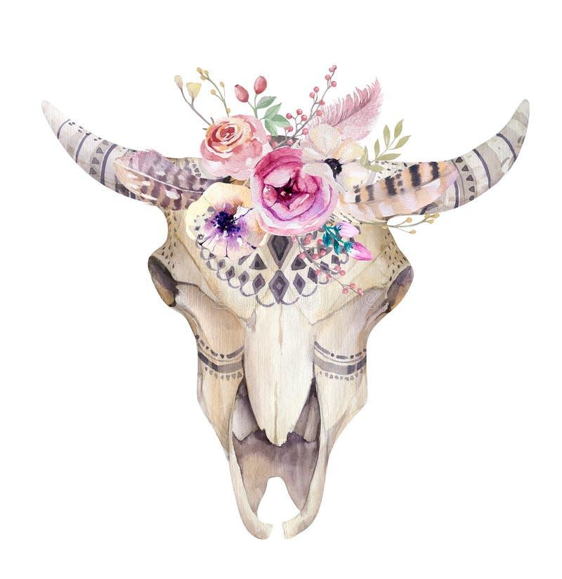 Akwareli krowy artystyczna czaszka Zachodni ssaki Watercolour biodro royalty ilustracja